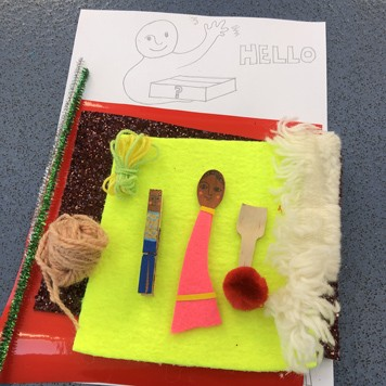 An image of materials going into the story based creative activity boxes.
