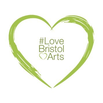 #LoveBristolArts campaign image - a green heart with the wording #LoveBristolArts inside.