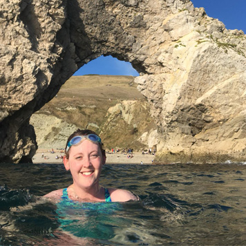 Helen Edwards swims through Durdle Door