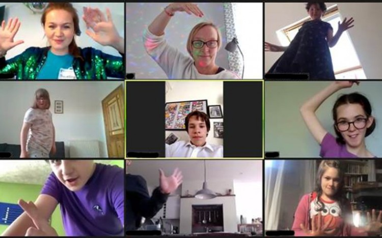 Disco party during an online Zoom session with Louder Than Words, our Youth Theatre group for children with disabilities and additional needs.