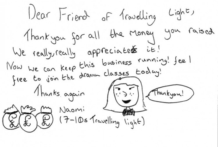 #ActPlayBe Crowdfunder Thank you from Travelling Light's Youth Board